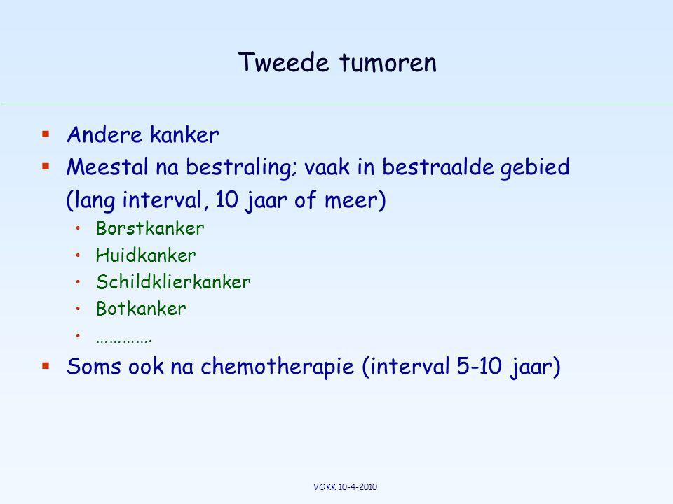 Tweede tumoren  Andere kanker  Meestal na bestraling; vaak in bestraalde gebied (lang interval, 10 jaar of meer) •Borstkanker •Huidkanker •Schildkli