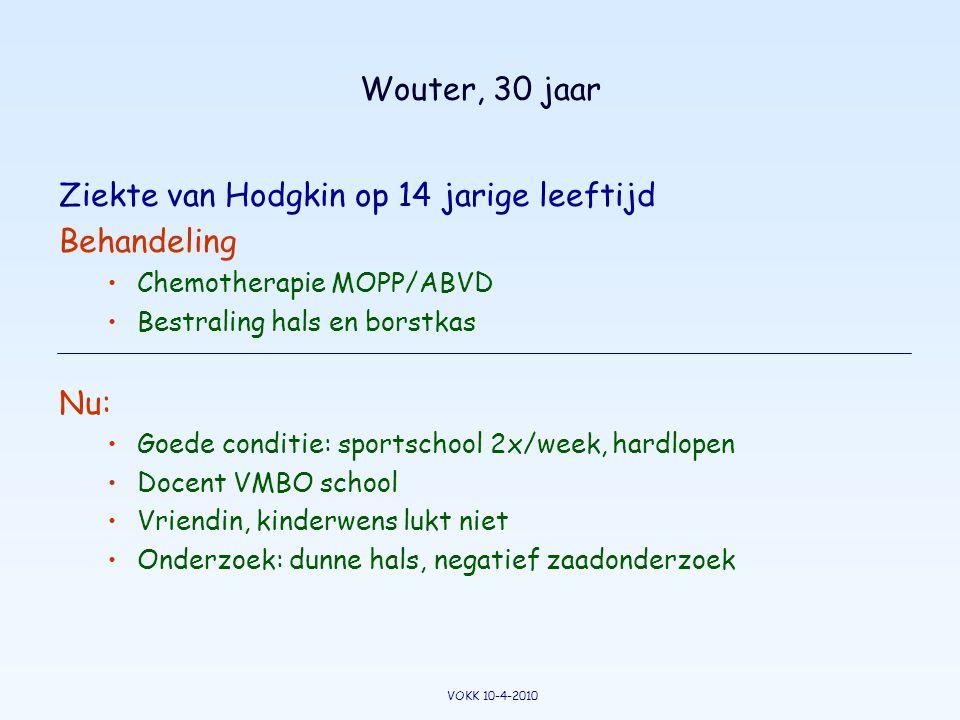Wouter, 30 jaar Ziekte van Hodgkin op 14 jarige leeftijd Behandeling •Chemotherapie MOPP/ABVD •Bestraling hals en borstkas Nu: •Goede conditie: sports