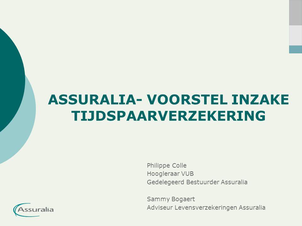 ASSURALIA- VOORSTEL INZAKE TIJDSPAARVERZEKERING Philippe Colle Hoogleraar VUB Gedelegeerd Bestuurder Assuralia Sammy Bogaert Adviseur Levensverzekeringen Assuralia