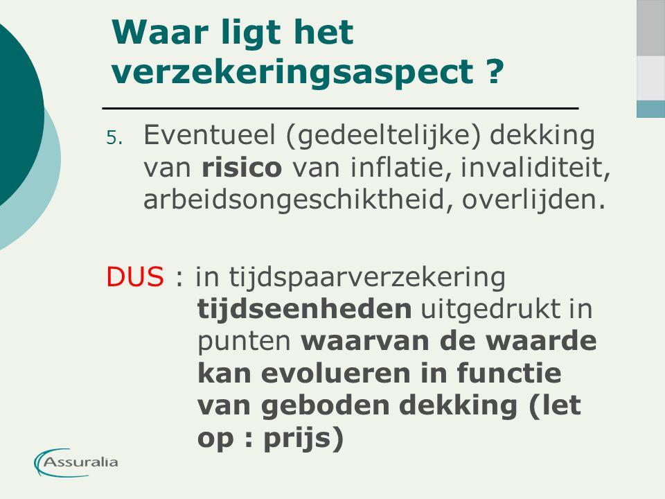 5. Eventueel (gedeeltelijke) dekking van risico van inflatie, invaliditeit, arbeidsongeschiktheid, overlijden. DUS : in tijdspaarverzekering tijdseenh