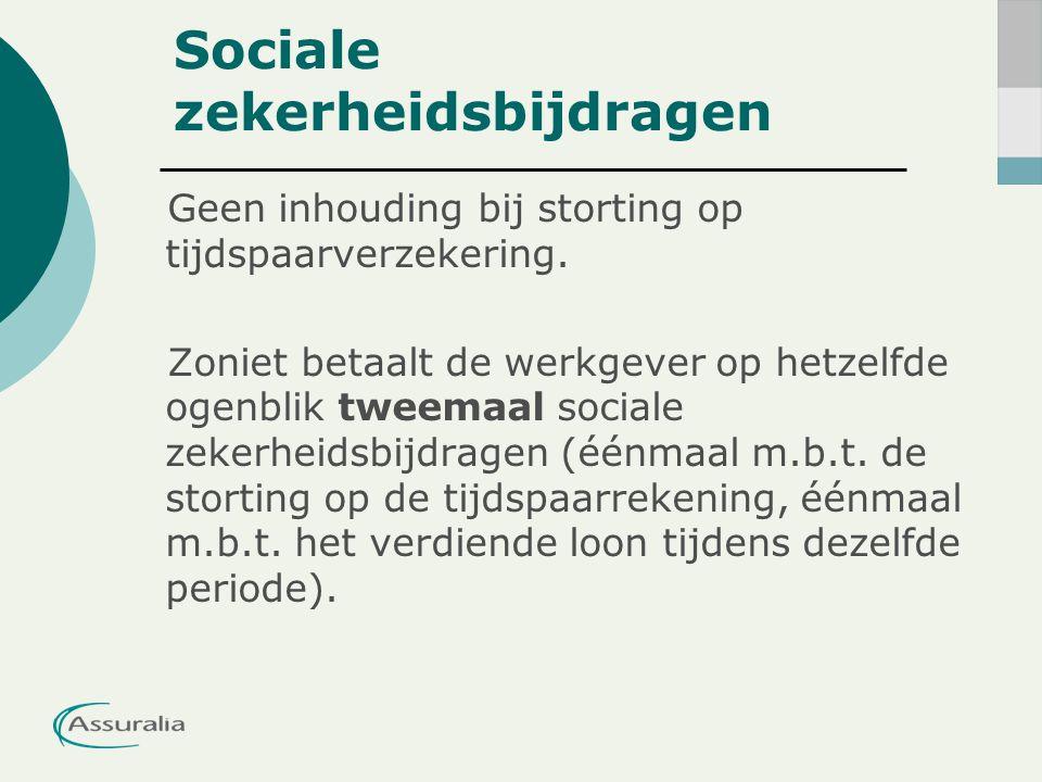 Sociale zekerheidsbijdragen Geen inhouding bij storting op tijdspaarverzekering.