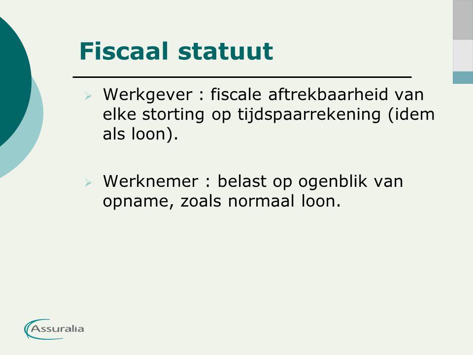  Werkgever : fiscale aftrekbaarheid van elke storting op tijdspaarrekening (idem als loon).  Werknemer : belast op ogenblik van opname, zoals normaa