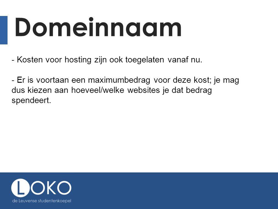 Domeinnaam - Kosten voor hosting zijn ook toegelaten vanaf nu.