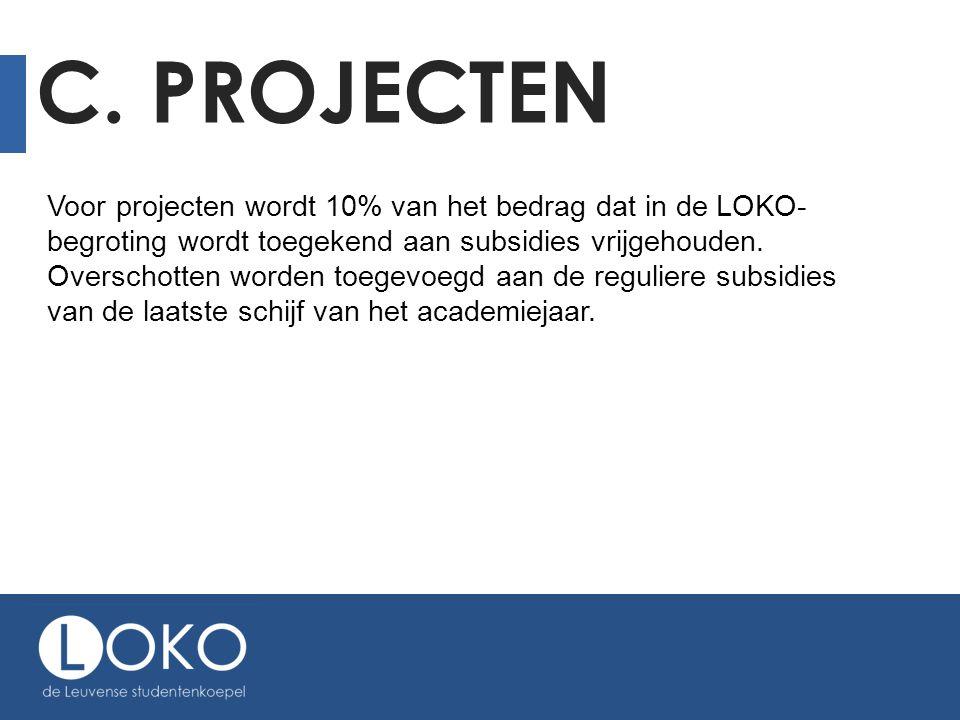 C. PROJECTEN Voor projecten wordt 10% van het bedrag dat in de LOKO- begroting wordt toegekend aan subsidies vrijgehouden. Overschotten worden toegevo