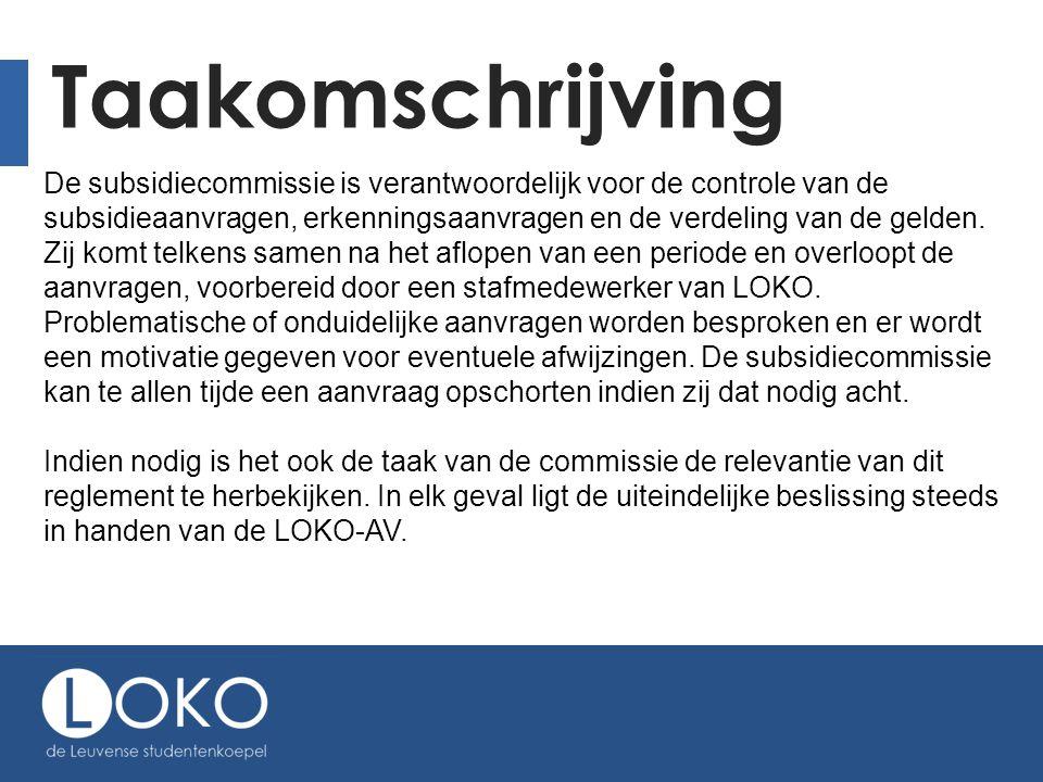 LOKO-act. en Activiteiten die door LOKO of een van haar afdelingen werden aangeboden met een korting, kunnen niet extra gesubsidieerd worden.
