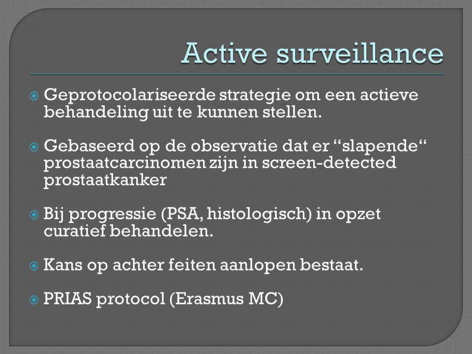  Active surveillance/watchfull waiting  Radicale prostatectomie  Uitwendige radiotherapie + hormonen  Brachytherapie  Hormonen  HIFU  Cryotherapie  Chemotherapie