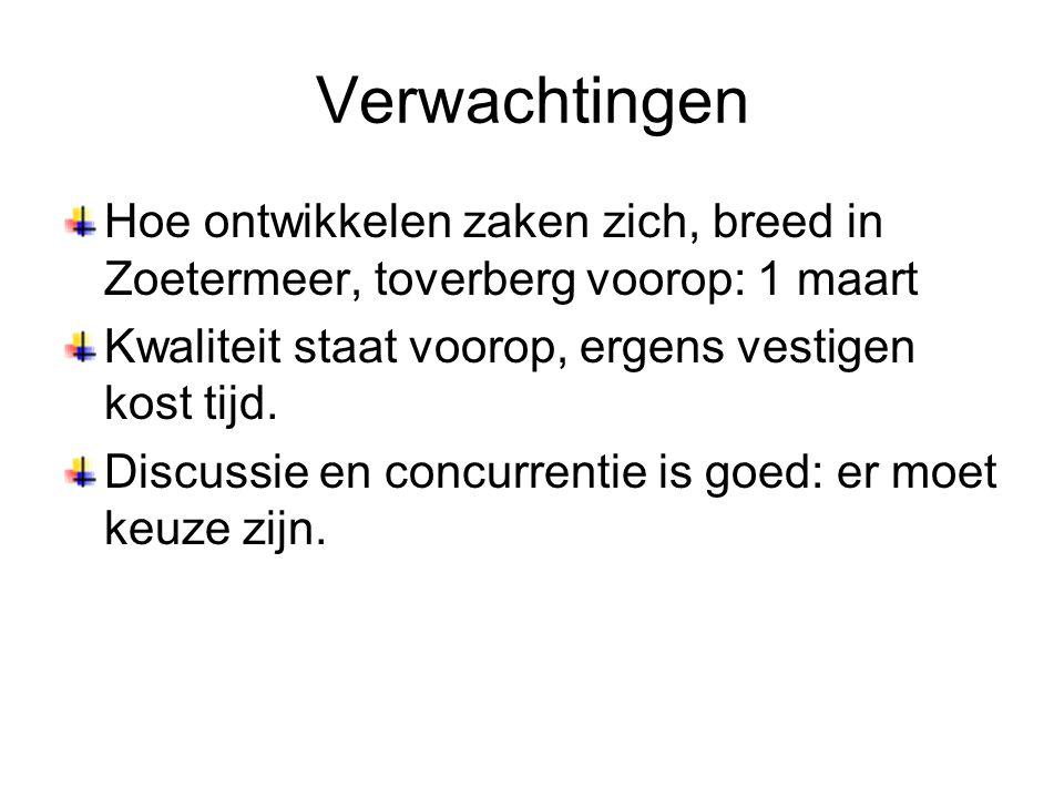 Verwachtingen Hoe ontwikkelen zaken zich, breed in Zoetermeer, toverberg voorop: 1 maart Kwaliteit staat voorop, ergens vestigen kost tijd. Discussie