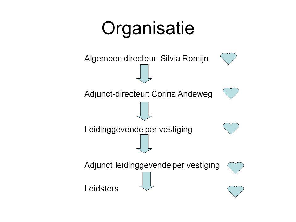 Organisatie Algemeen directeur: Silvia Romijn Adjunct-directeur: Corina Andeweg Leidinggevende per vestiging Adjunct-leidinggevende per vestiging Leidsters