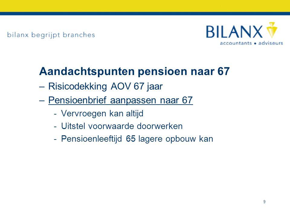 Aandachtspunten DGA 1 •Pensioen is deel van totaal financieel plan •Wellicht betere alternatieven -Lijfrente-banksparen -Sparen in BV + dividend -Sparen in privé box 3 10