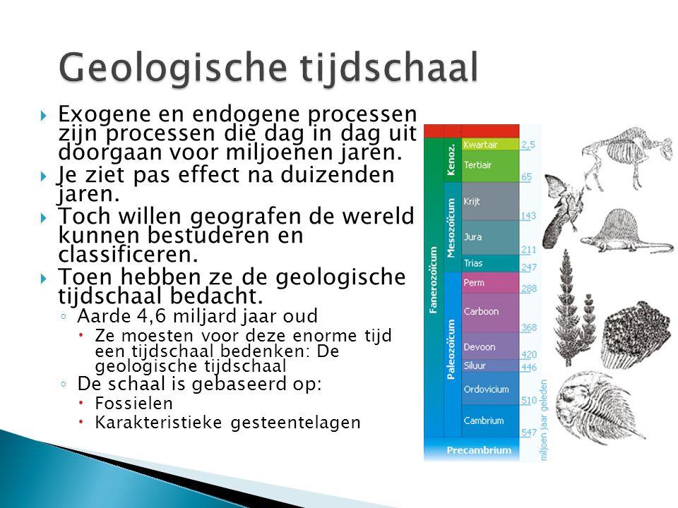  Exogene en endogene processen zijn processen die dag in dag uit doorgaan voor miljoenen jaren.  Je ziet pas effect na duizenden jaren.  Toch wille
