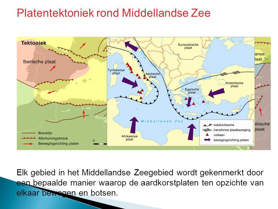 Elk gebied in het Middellandse Zeegebied wordt gekenmerkt door een bepaalde manier waarop de aardkorstplaten ten opzichte van elkaar bewegen en botsen