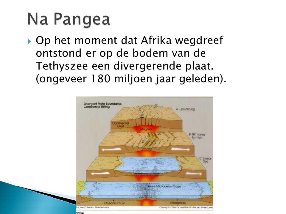  Op het moment dat Afrika wegdreef ontstond er op de bodem van de Tethyszee een divergerende plaat. (ongeveer 180 miljoen jaar geleden).