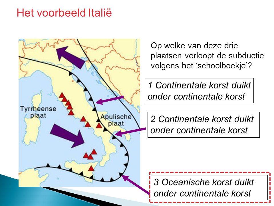 1 Continentale korst duikt onder continentale korst 3 Oceanische korst duikt onder continentale korst 2 Continentale korst duikt onder continentale ko