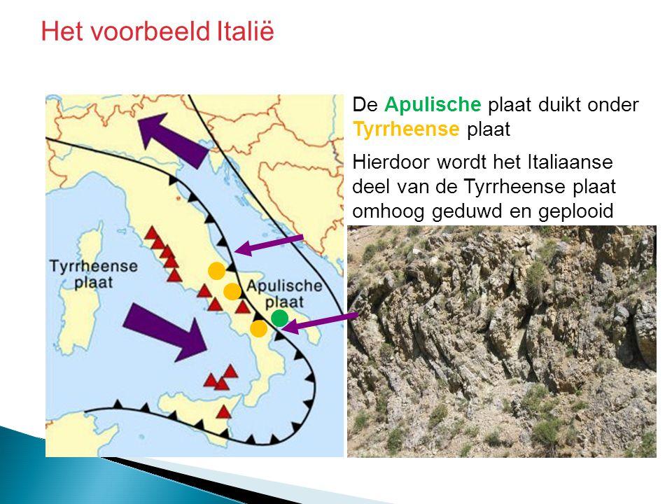 Het voorbeeld Italië De Apulische plaat duikt onder Tyrrheense plaat Hierdoor wordt het Italiaanse deel van de Tyrrheense plaat omhoog geduwd en geplo