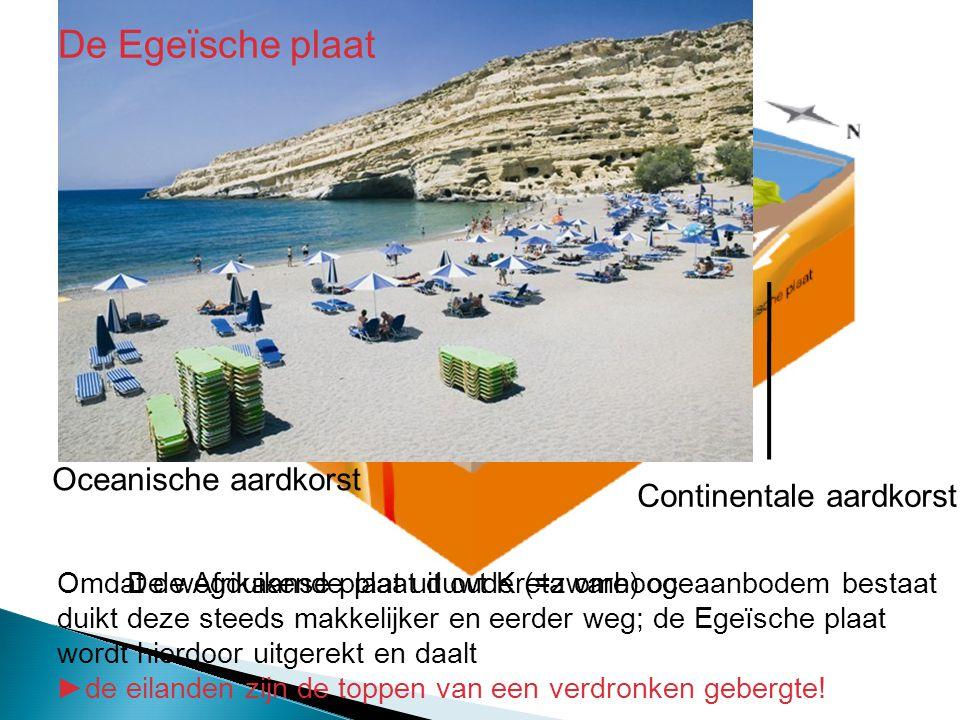 Oceanische aardkorst Continentale aardkorst De wegduikende plaat duwt Kreta omhoogOmdat de Afrikaanse plaat uit oude (=zware) oceaanbodem bestaat duik