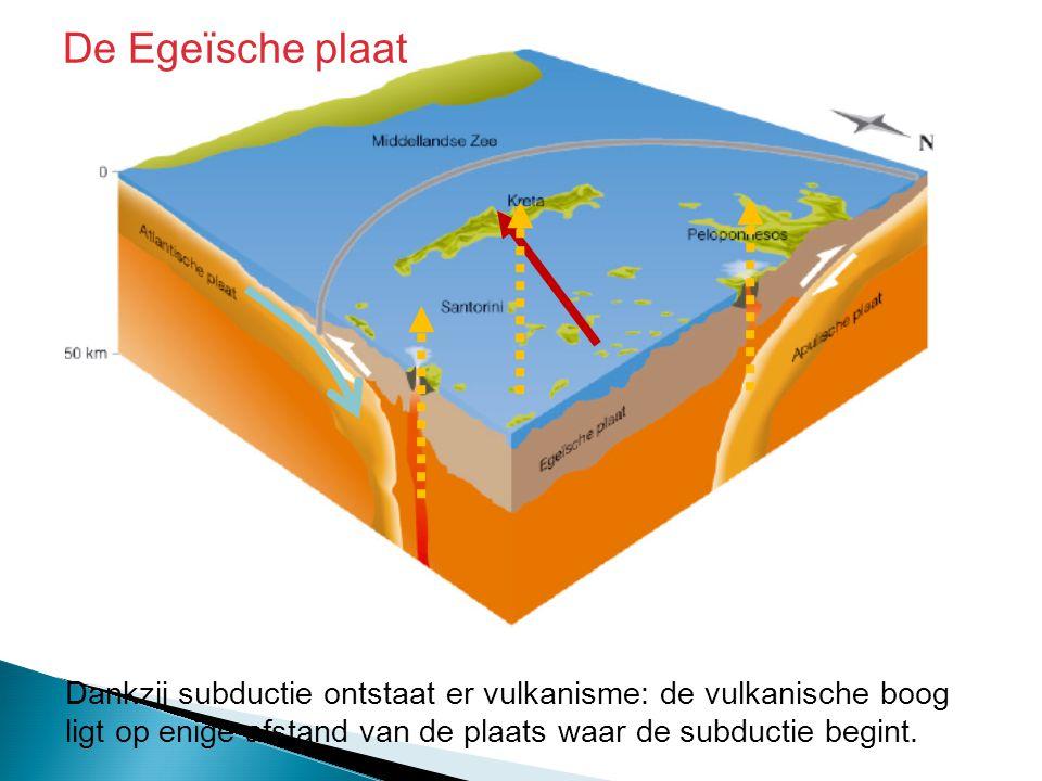 Dankzij subductie ontstaat er vulkanisme: de vulkanische boog ligt op enige afstand van de plaats waar de subductie begint. De Egeïsche plaat