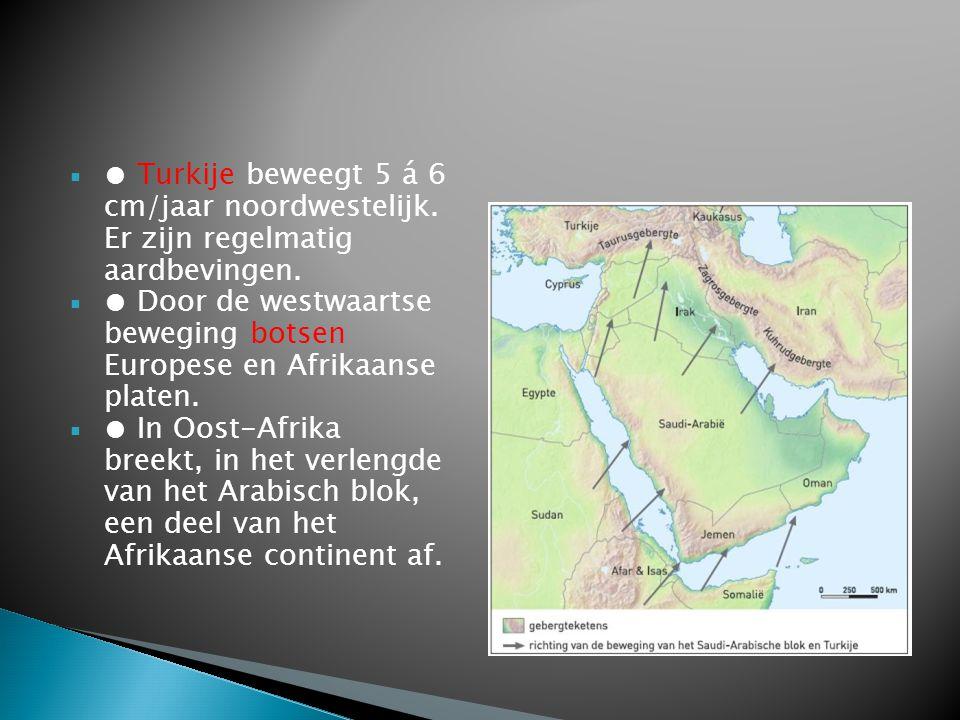  ● Turkije beweegt 5 á 6 cm/jaar noordwestelijk. Er zijn regelmatig aardbevingen.  ● Door de westwaartse beweging botsen Europese en Afrikaanse plat