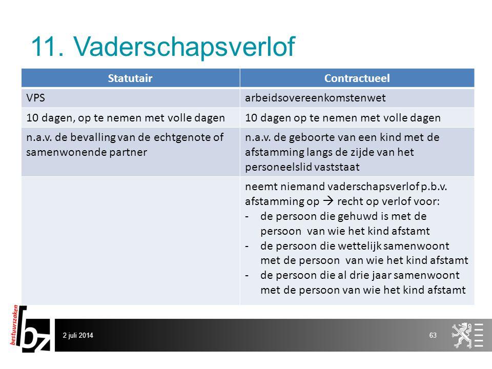 11. Vaderschapsverlof 2 juli 201463 StatutairContractueel VPSarbeidsovereenkomstenwet 10 dagen, op te nemen met volle dagen10 dagen op te nemen met vo