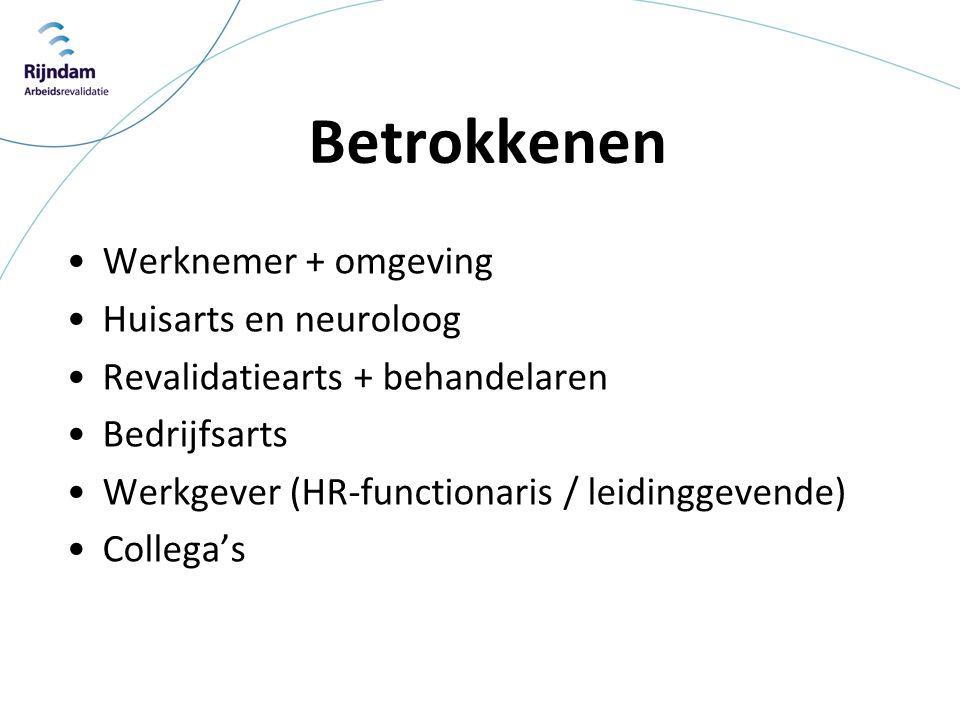 Betrokkenen •Werknemer + omgeving •Huisarts en neuroloog •Revalidatiearts + behandelaren •Bedrijfsarts •Werkgever (HR-functionaris / leidinggevende) •