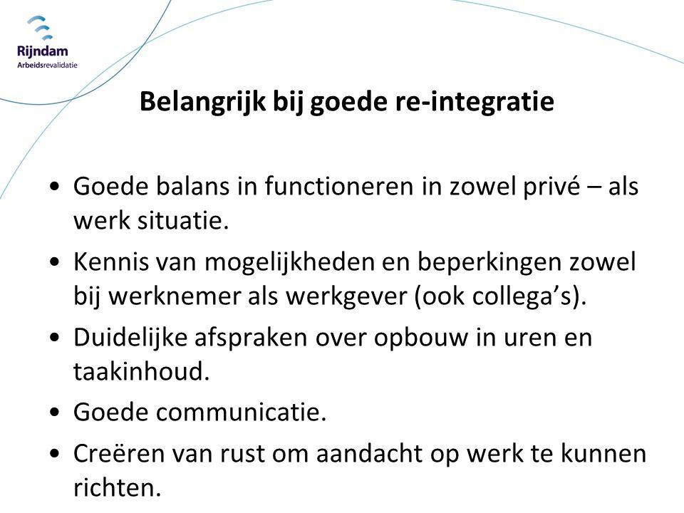 Belangrijk bij goede re-integratie •Goede balans in functioneren in zowel privé – als werk situatie. •Kennis van mogelijkheden en beperkingen zowel bi