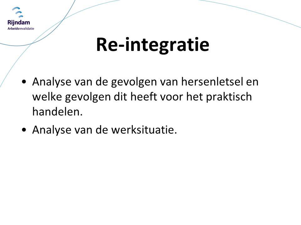 Re-integratie •Analyse van de gevolgen van hersenletsel en welke gevolgen dit heeft voor het praktisch handelen. •Analyse van de werksituatie.