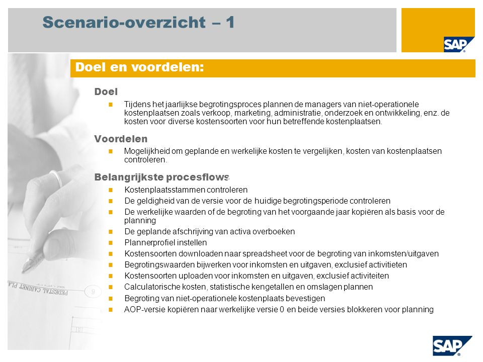 Scenario-overzicht – 2 Vereist  SAP enhancement package 4 for SAP ERP 6.0 Bedrijfsrollen in procesflows  Centrale medewerker kostenadministratie Vereiste SAP-applicaties: