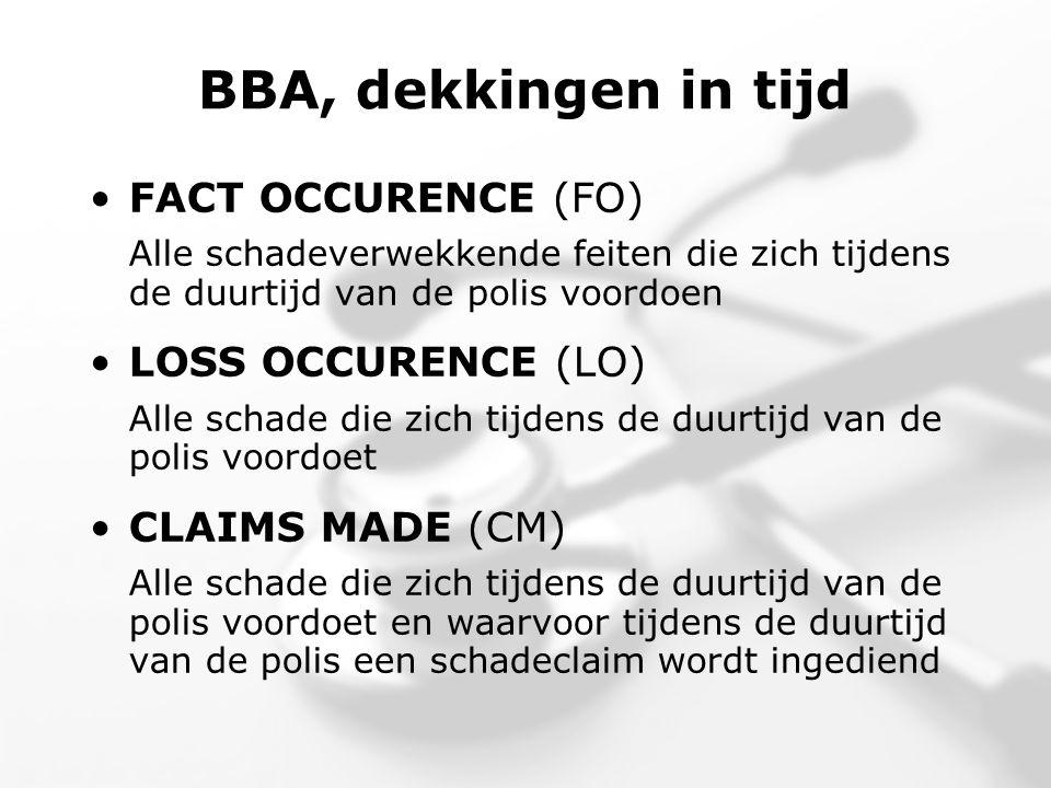 BBA, dekkingen in tijd •FACT OCCURENCE (FO) Alle schadeverwekkende feiten die zich tijdens de duurtijd van de polis voordoen •LOSS OCCURENCE (LO) Alle schade die zich tijdens de duurtijd van de polis voordoet •CLAIMS MADE (CM) Alle schade die zich tijdens de duurtijd van de polis voordoet en waarvoor tijdens de duurtijd van de polis een schadeclaim wordt ingediend