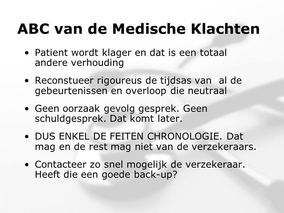 ABC van de Medische Klachten •Patient wordt klager en dat is een totaal andere verhouding •Reconstueer rigoureus de tijdsas van al de gebeurtenissen en overloop die neutraal •Geen oorzaak gevolg gesprek.