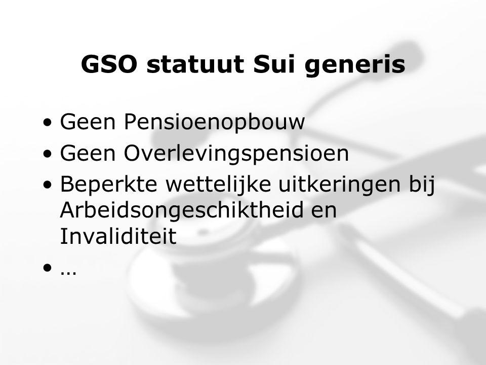 GSO statuut Sui generis •Geen Pensioenopbouw •Geen Overlevingspensioen •Beperkte wettelijke uitkeringen bij Arbeidsongeschiktheid en Invaliditeit •…