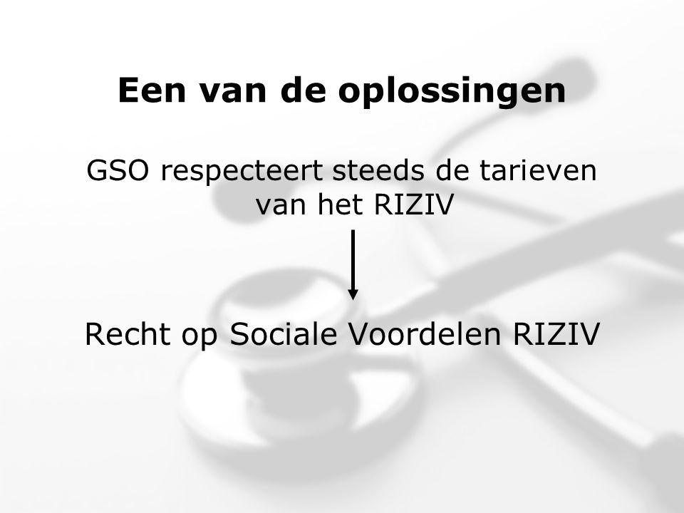 Een van de oplossingen GSO respecteert steeds de tarieven van het RIZIV Recht op Sociale Voordelen RIZIV