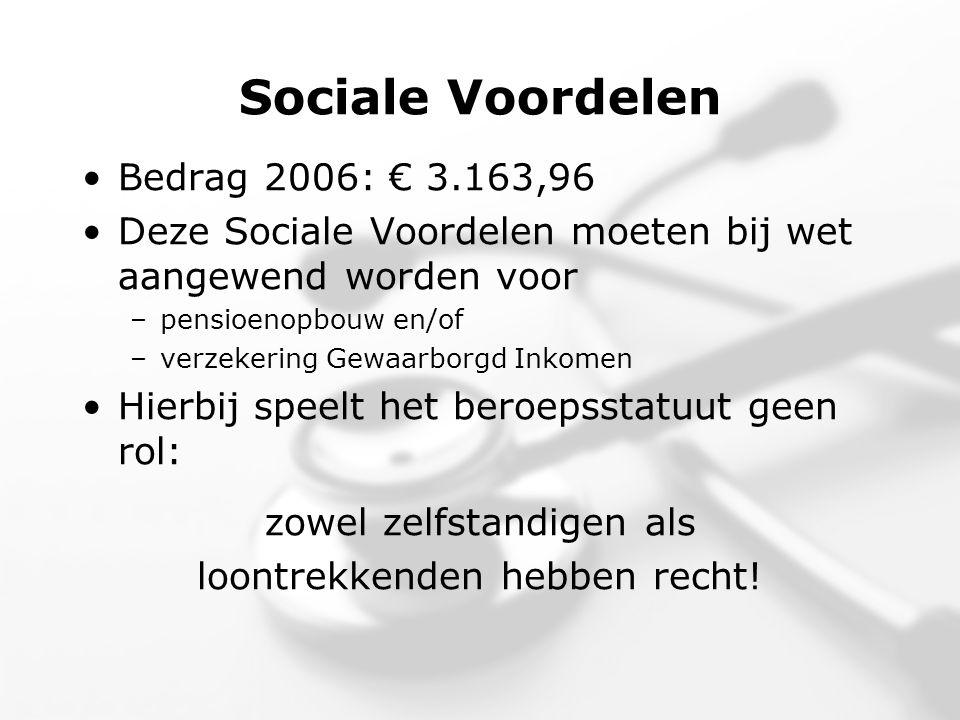 Sociale Voordelen •Bedrag 2006: € 3.163,96 •Deze Sociale Voordelen moeten bij wet aangewend worden voor –pensioenopbouw en/of –verzekering Gewaarborgd Inkomen •Hierbij speelt het beroepsstatuut geen rol: zowel zelfstandigen als loontrekkenden hebben recht!