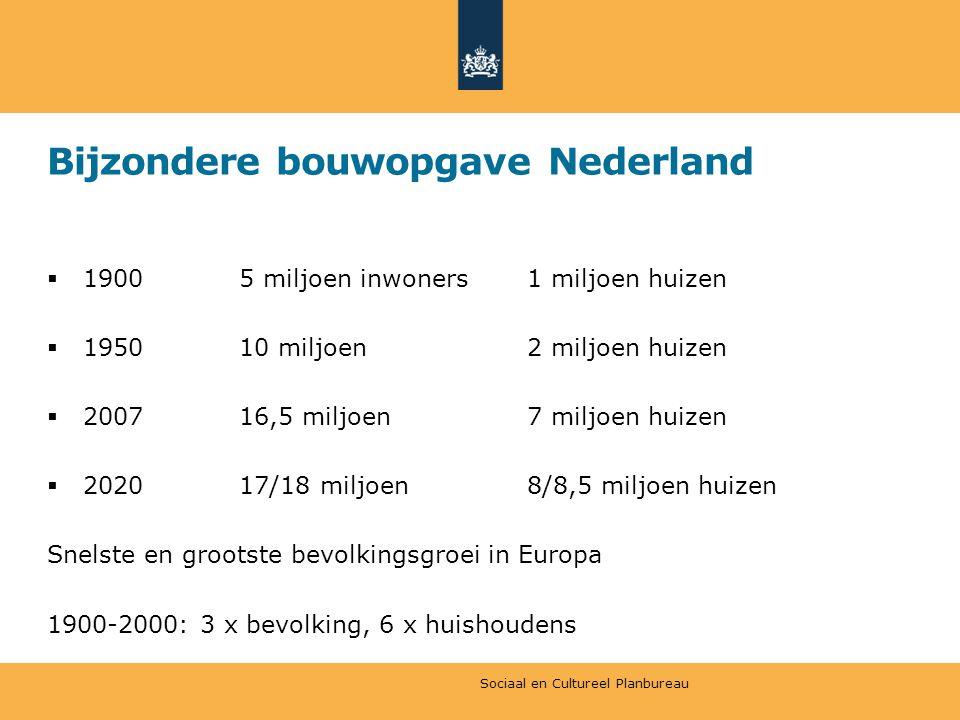 Bijzondere bouwopgave Nederland  19005 miljoen inwoners1 miljoen huizen  195010 miljoen2 miljoen huizen  200716,5 miljoen7 miljoen huizen  202017/18 miljoen8/8,5 miljoen huizen Snelste en grootste bevolkingsgroei in Europa 1900-2000: 3 x bevolking, 6 x huishoudens Sociaal en Cultureel Planbureau