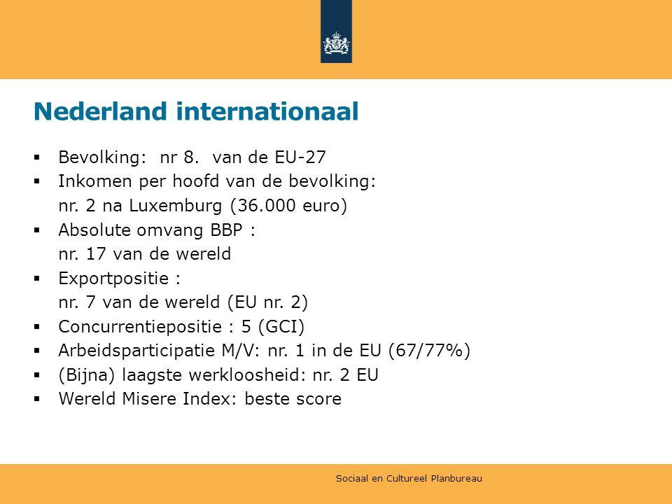 Nederland internationaal  Bevolking: nr 8.van de EU-27  Inkomen per hoofd van de bevolking: nr.