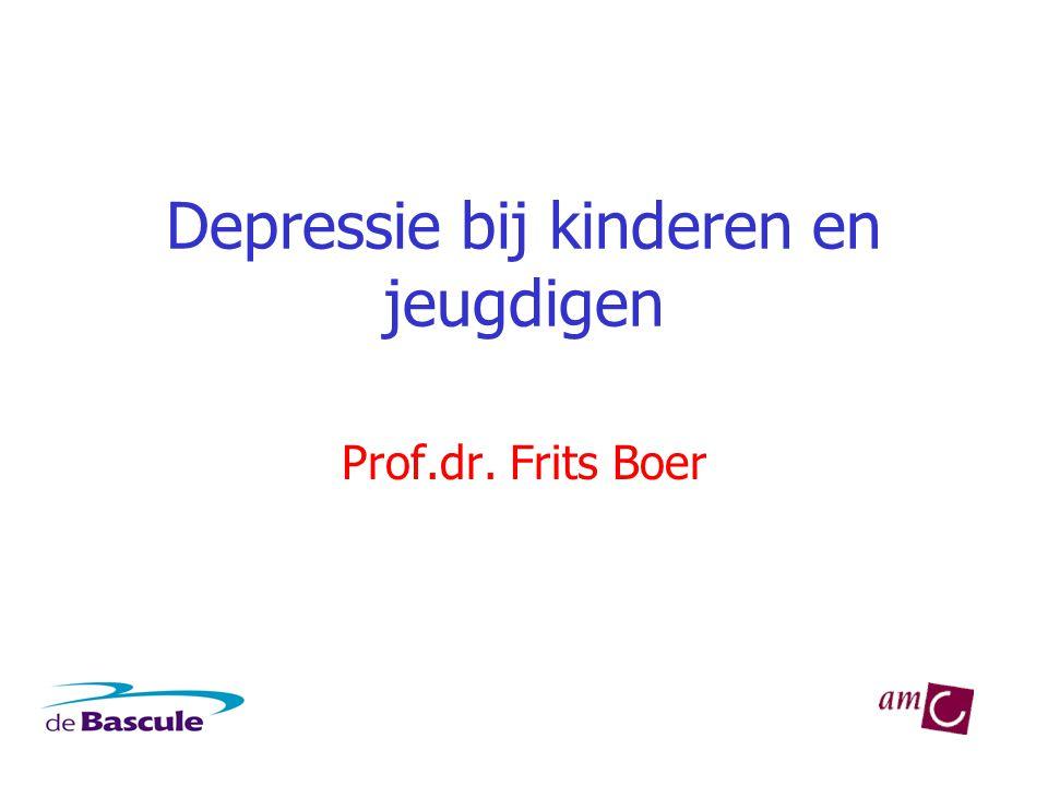 Depressie bij kinderen en jeugdigen •Voorkomen: •Kinderen: 2-4% (meisjes = jongens) •Adolescentie: 4-8% (meisjes > jongens) •Oorzaak toename adolescentie: •Hormonale veranderingen.