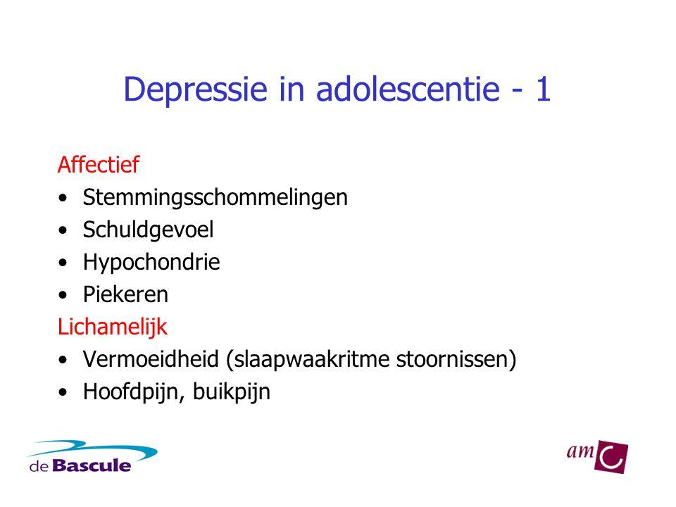 Depressie in adolescentie - 1 Affectief •Stemmingsschommelingen •Schuldgevoel •Hypochondrie •Piekeren Lichamelijk •Vermoeidheid (slaapwaakritme stoornissen) •Hoofdpijn, buikpijn