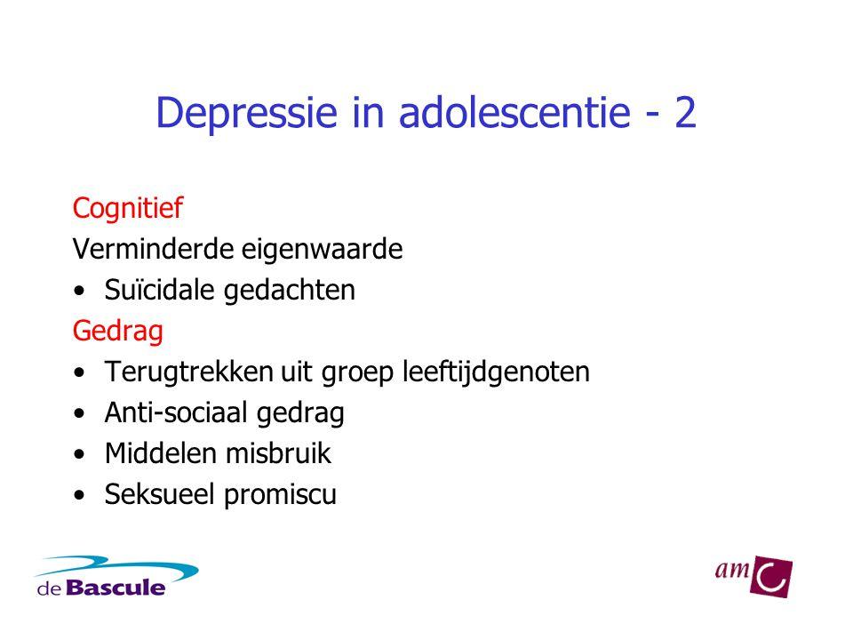 Depressie in adolescentie - 2 Cognitief Verminderde eigenwaarde •Suïcidale gedachten Gedrag •Terugtrekken uit groep leeftijdgenoten •Anti-sociaal gedrag •Middelen misbruik •Seksueel promiscu