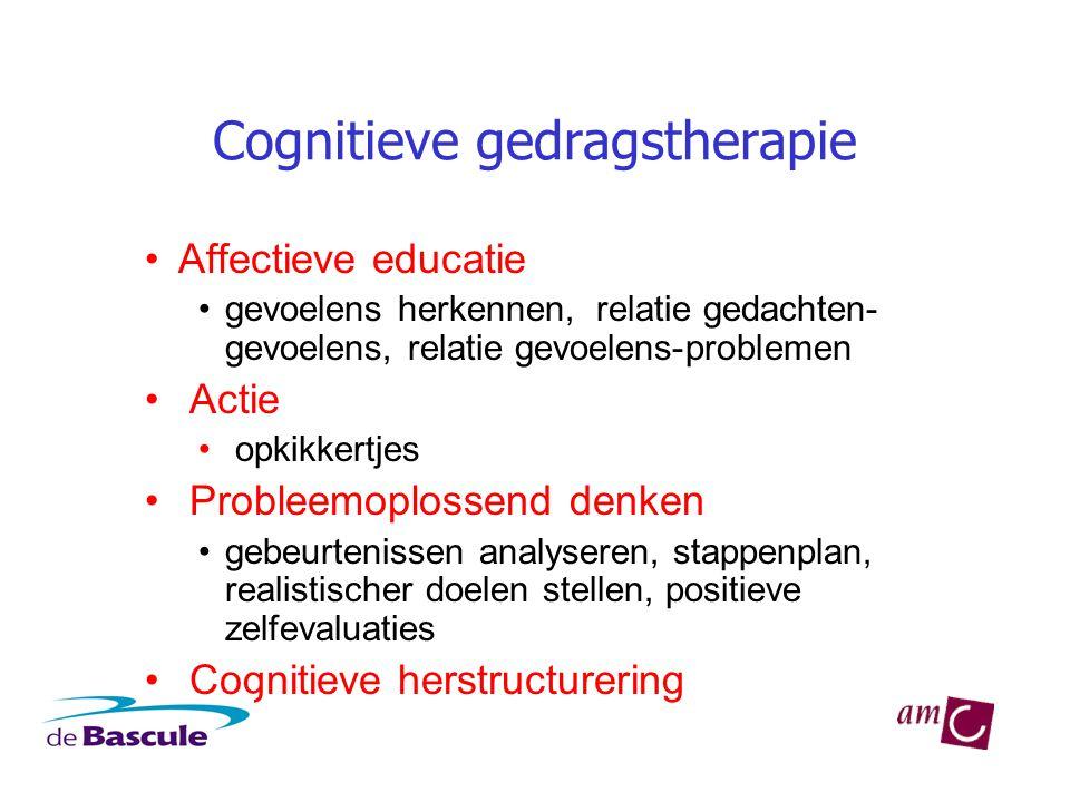 Cognitieve gedragstherapie •Affectieve educatie •gevoelens herkennen, relatie gedachten- gevoelens, relatie gevoelens-problemen • Actie • opkikkertjes
