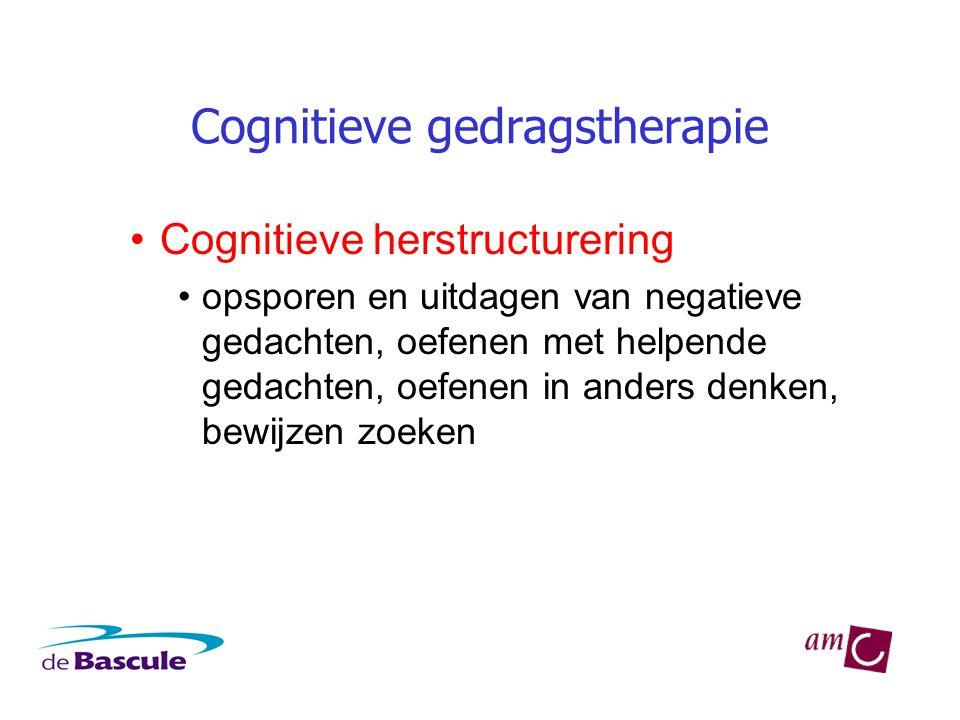 Cognitieve gedragstherapie •Cognitieve herstructurering •opsporen en uitdagen van negatieve gedachten, oefenen met helpende gedachten, oefenen in anders denken, bewijzen zoeken
