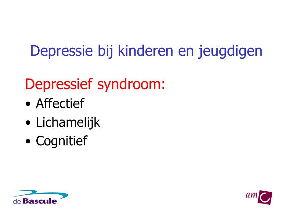 Depressie bij kinderen en jeugdigen Affectief ('kernsymptomen') •Depressieve stemming •Verlies interesse/ plezier •DSM-IV kinderen/adolescenten: •Óók prikkelbare stemming •1 jaar i.p.v.