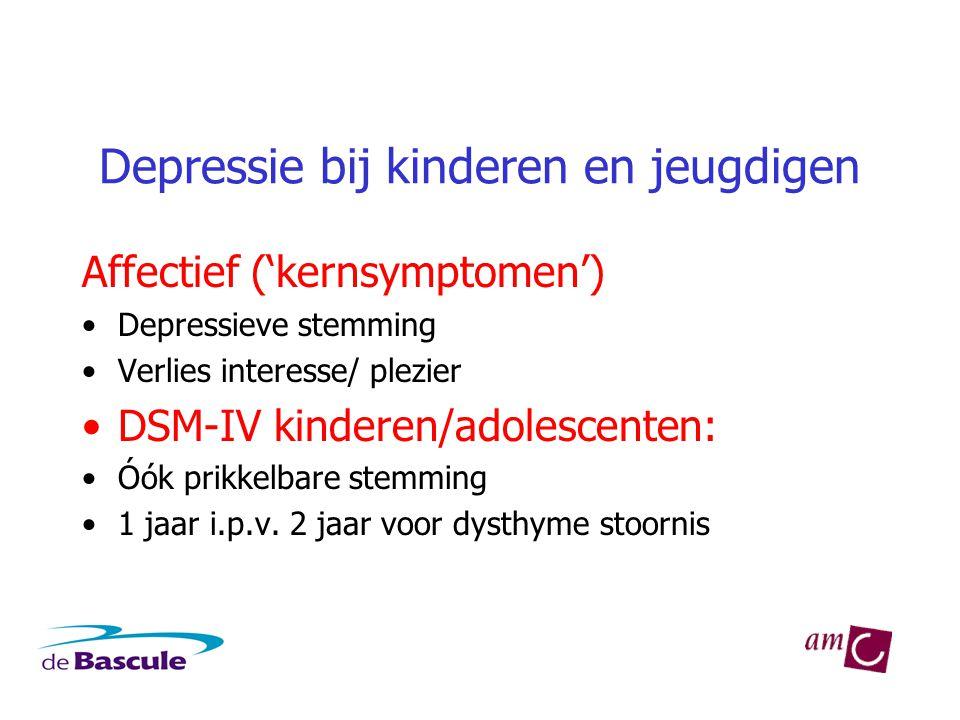 Depressie bij kinderen en jeugdigen Affectief ('kernsymptomen') •Depressieve stemming •Verlies interesse/ plezier •DSM-IV kinderen/adolescenten: •Óók