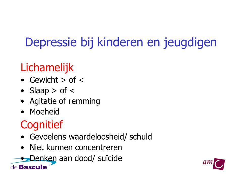 Depressie bij kinderen en jeugdigen Lichamelijk •Gewicht > of < •Slaap > of < •Agitatie of remming •Moeheid Cognitief •Gevoelens waardeloosheid/ schuld •Niet kunnen concentreren •Denken aan dood/ suïcide