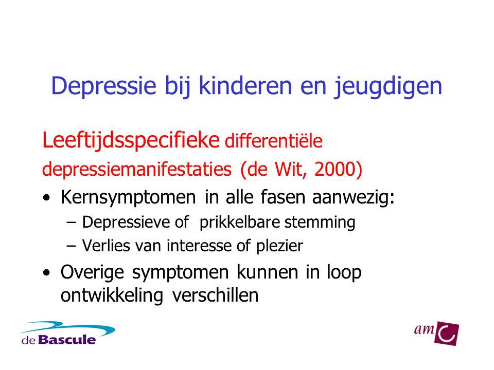 Depressie bij kinderen en jeugdigen Leeftijdsspecifieke differentiële depressiemanifestaties (de Wit, 2000) •Kernsymptomen in alle fasen aanwezig: –De