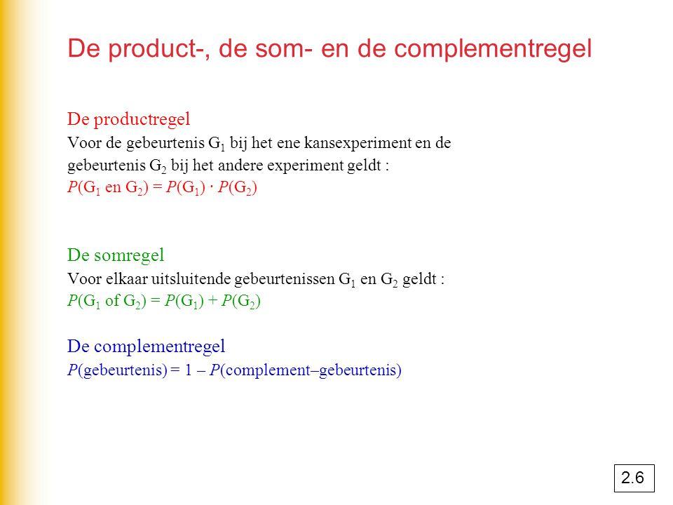 De product-, de som- en de complementregel De productregel Voor de gebeurtenis G 1 bij het ene kansexperiment en de gebeurtenis G 2 bij het andere exp