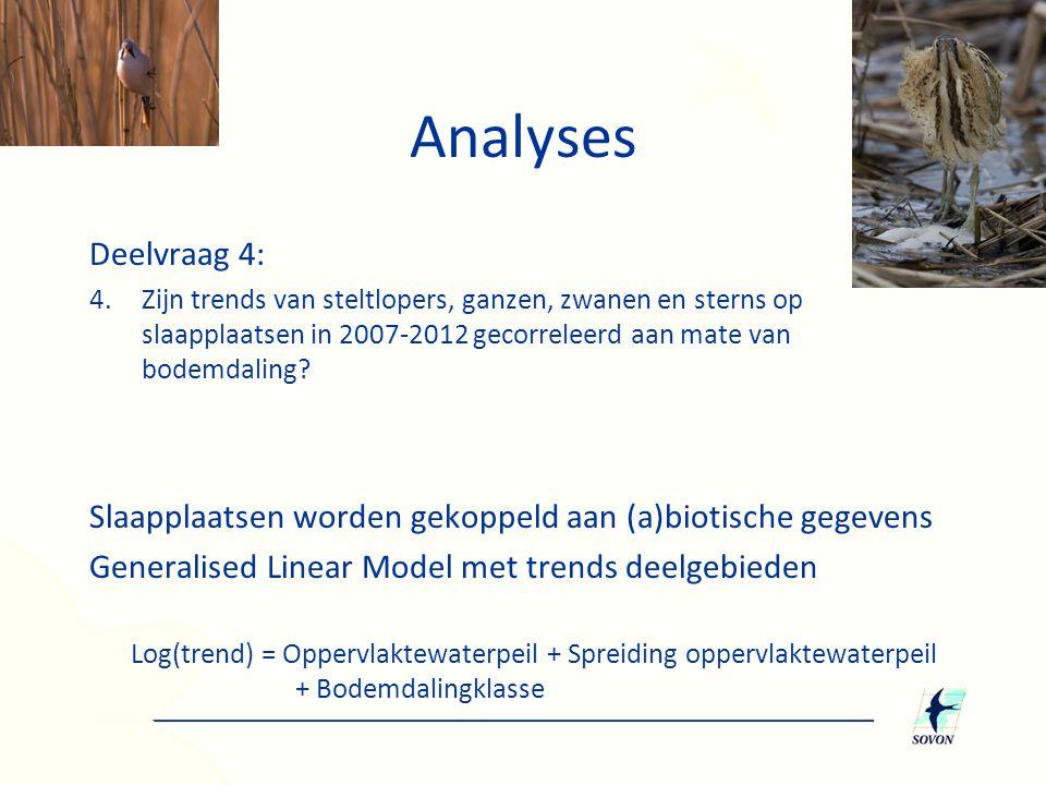 Analyses Deelvraag 4: 4.Zijn trends van steltlopers, ganzen, zwanen en sterns op slaapplaatsen in 2007-2012 gecorreleerd aan mate van bodemdaling.