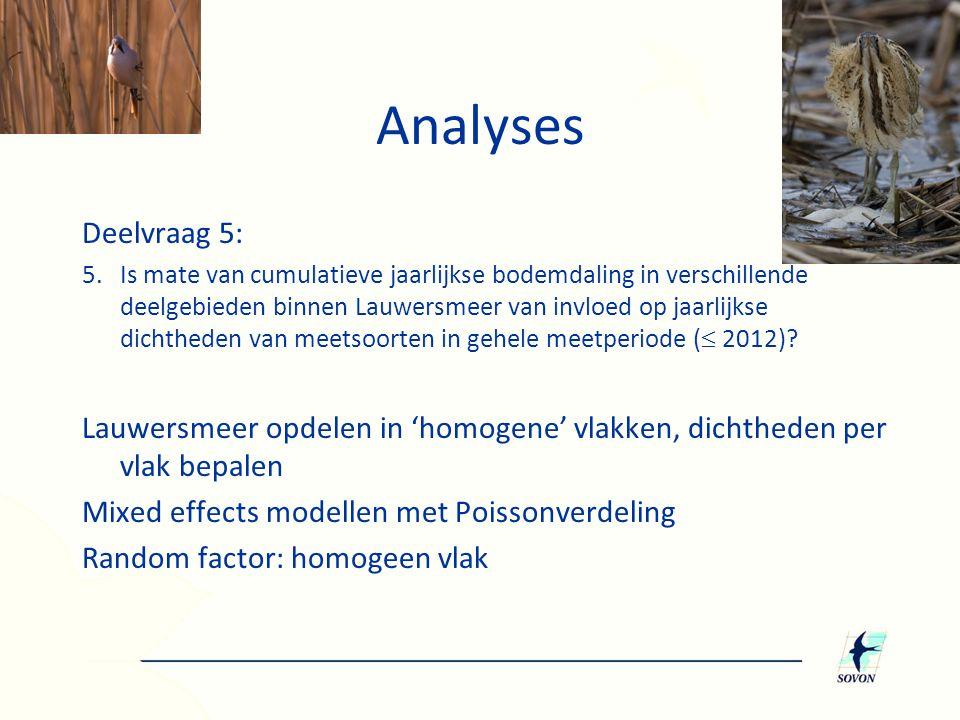 Analyses Deelvraag 5: 5.Is mate van cumulatieve jaarlijkse bodemdaling in verschillende deelgebieden binnen Lauwersmeer van invloed op jaarlijkse dich