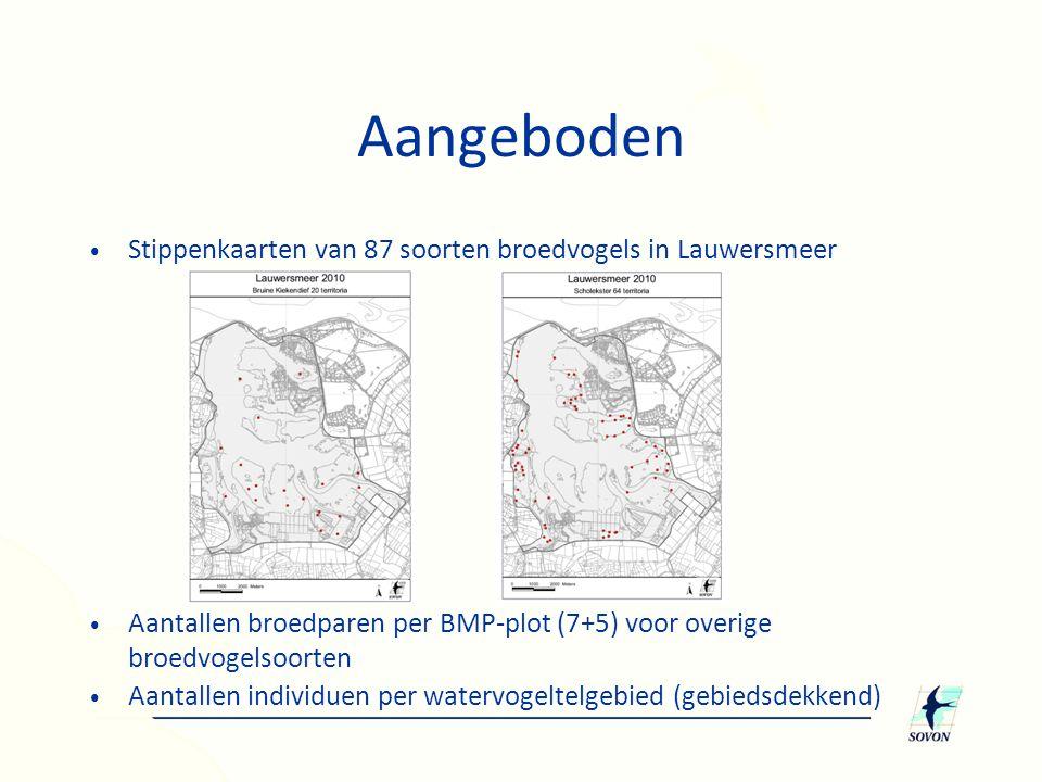 Aangeboden • Stippenkaarten van 87 soorten broedvogels in Lauwersmeer • Aantallen broedparen per BMP-plot (7+5) voor overige broedvogelsoorten • Aantallen individuen per watervogeltelgebied (gebiedsdekkend)