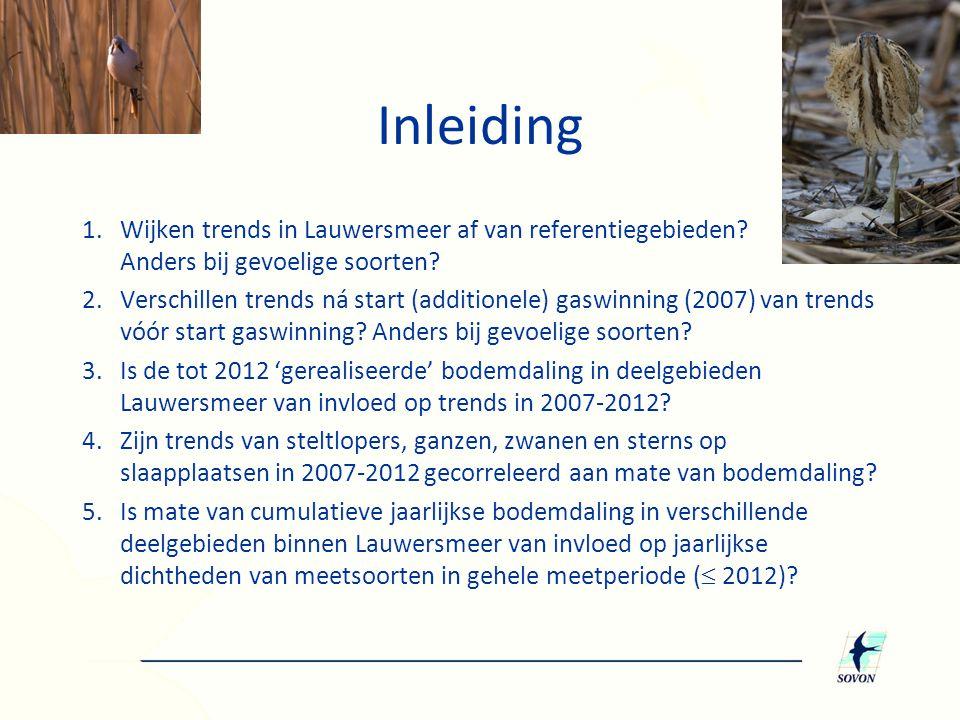 1.Wijken trends in Lauwersmeer af van referentiegebieden? Anders bij gevoelige soorten? 2.Verschillen trends ná start (additionele) gaswinning (2007)