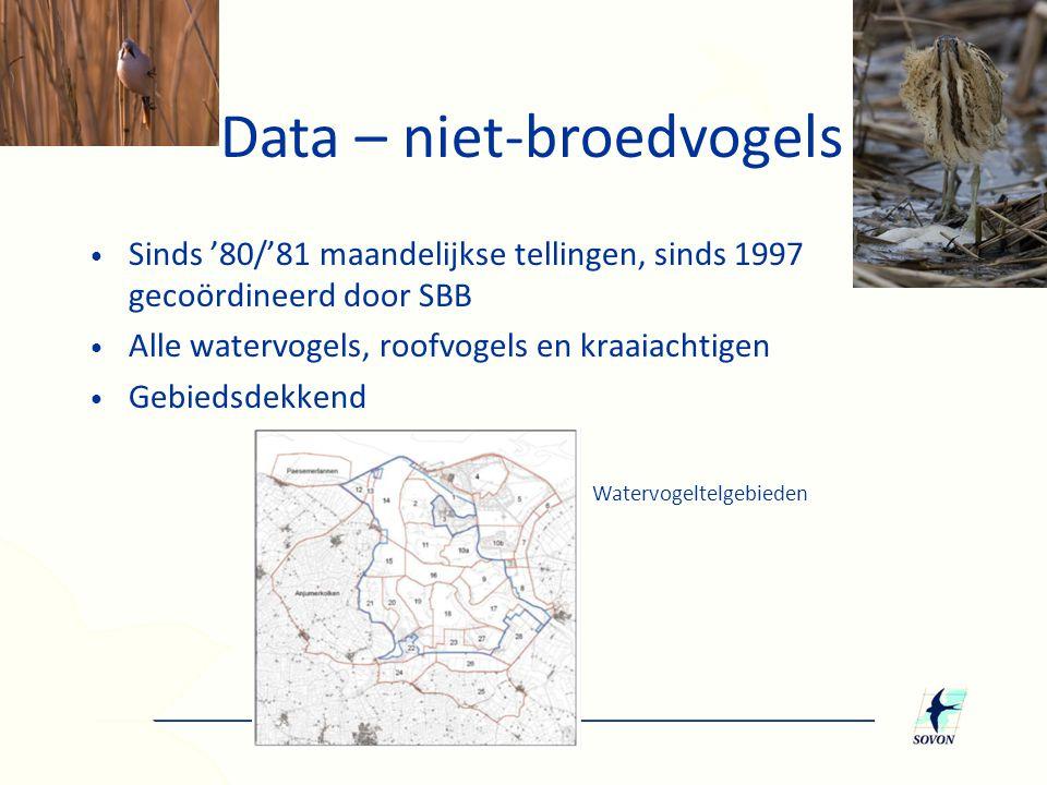 • Sinds '80/'81 maandelijkse tellingen, sinds 1997 gecoördineerd door SBB • Alle watervogels, roofvogels en kraaiachtigen • Gebiedsdekkend Watervogelt