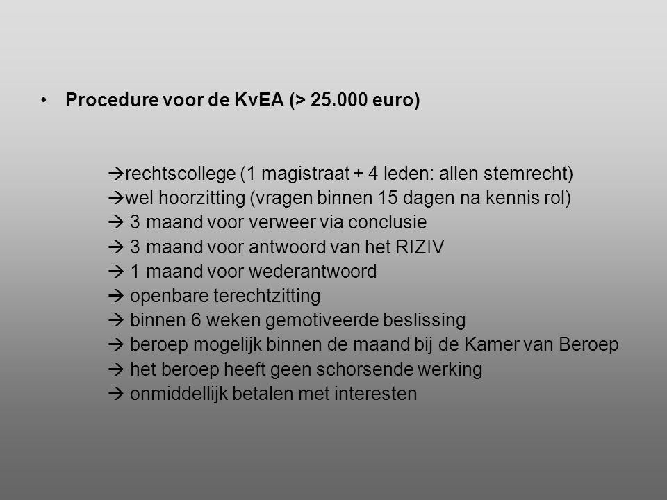 •Procedure voor de KvEA (> 25.000 euro)  rechtscollege (1 magistraat + 4 leden: allen stemrecht)  wel hoorzitting (vragen binnen 15 dagen na kennis