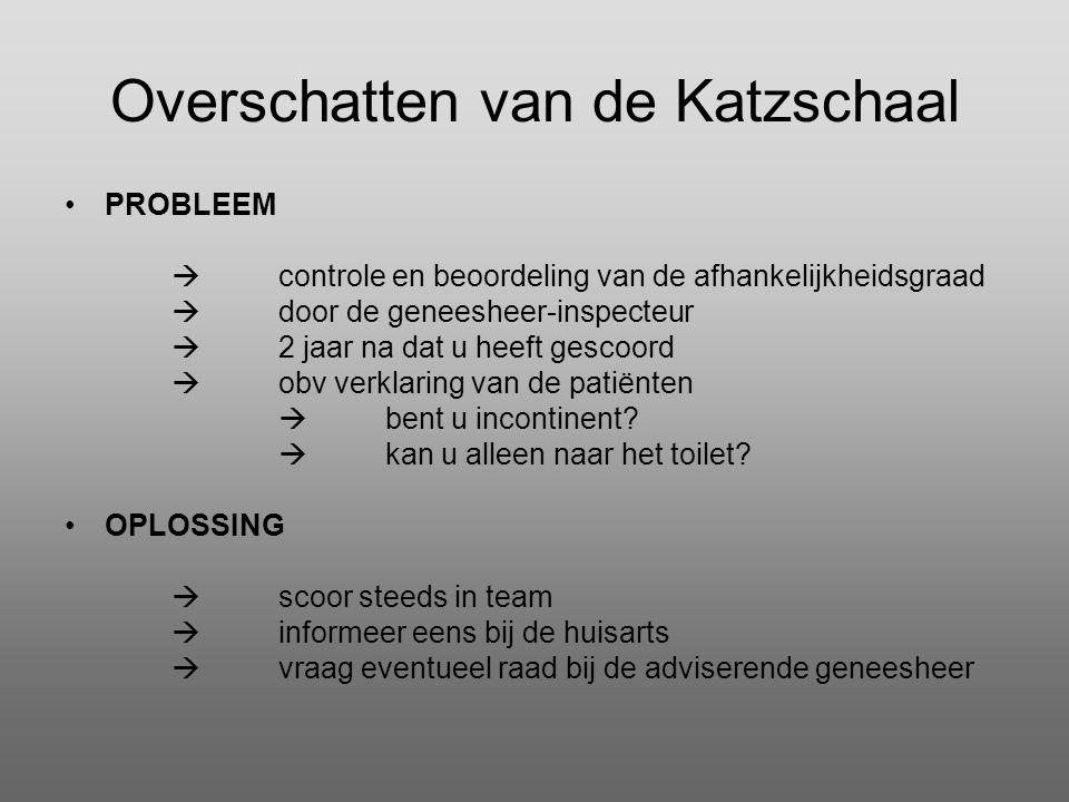 Overschatten van de Katzschaal •PROBLEEM  controle en beoordeling van de afhankelijkheidsgraad  door de geneesheer-inspecteur  2 jaar na dat u heef